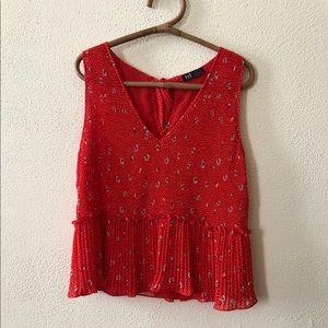 Zara Pleated Floral Blouse XL